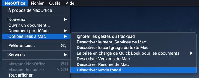 L'élément de menu NeoOffice > Options liées à Mac > Désactiver Mode foncé