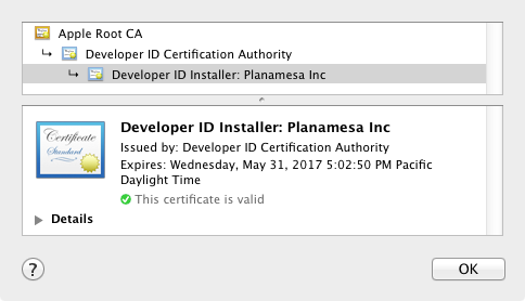 NeoOffice installer certificate