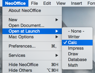 NeoOffice > Open at Launch menu