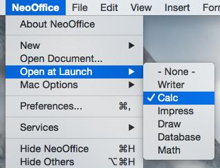 NeoOffice > Open at Launch menu
