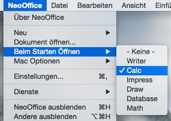 NeoOffice > Beim Starten Öffnen Menü