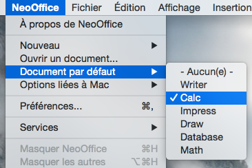 Le menu de NeoOffice > Document par défault