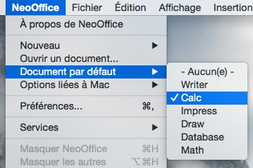 Le menu de NeoOffice > Document par défault