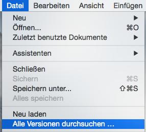 Alle Versionen durchsuchen Menü aus NeoOffice