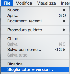 Browse All Versions menu in NeoOffice