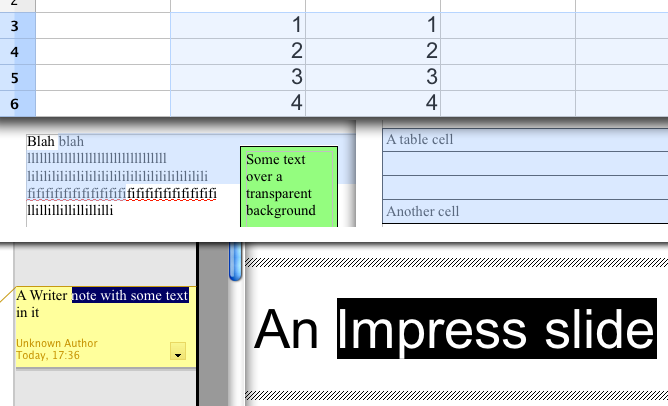 Text highlighting in OpenOffice and LibreOffice